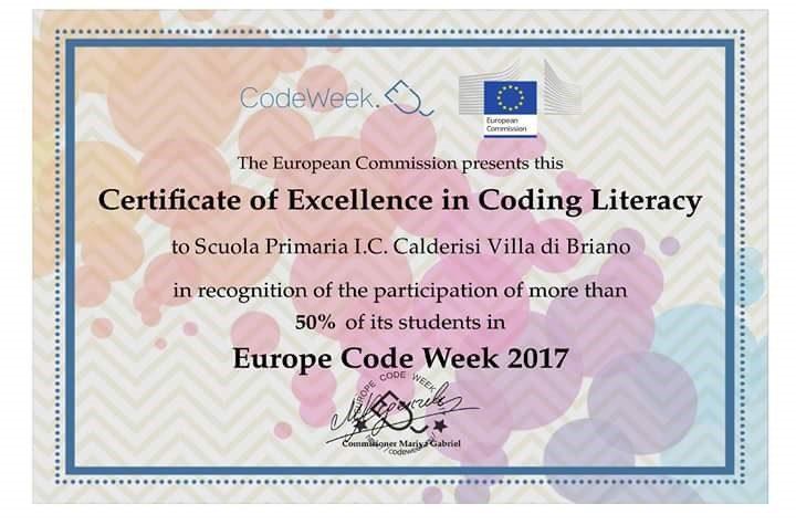 Certificato di Eccellenza dalla Commissione Europea